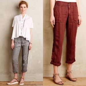 Hei Hei womens cropped linen trousers from Anthro